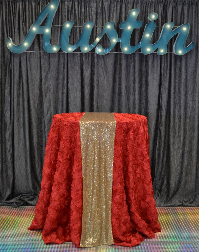 Red Splendor with Gold Sequin Runner