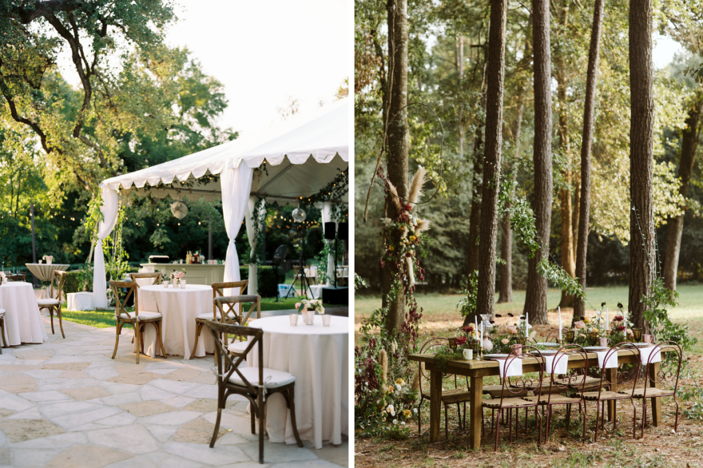 Outdoor wedding with a tent and and with a farm table reception in the woods.