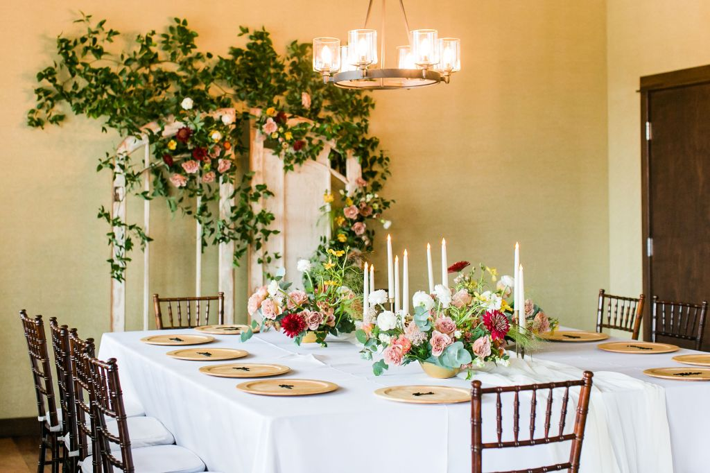 Simple floral microwedding dinner table